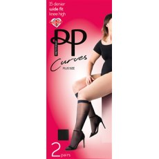 Curves Comfort Top 15D Knee Highs 2 Pair Pack
