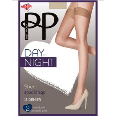 Day To Night 15D Stocking Sheer Lace Top 2 Pair Pack