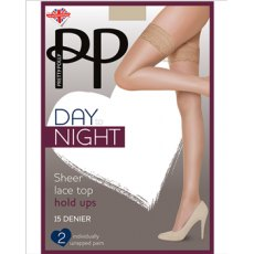Day To Night 15D Hold Ups Sheer Lace Top 2 Pair Pack