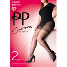 Curves 15D Gloss Tights 2 Pair Pack