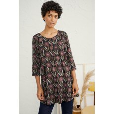Arusha Tunic Textured Flower Head Black