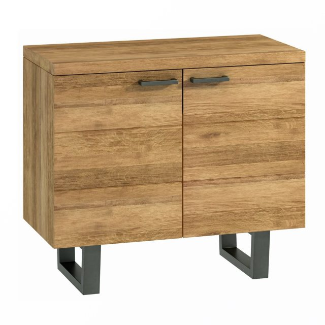 The small sideboard from the Industrial Dining Range has two doors and one central shelf inside.