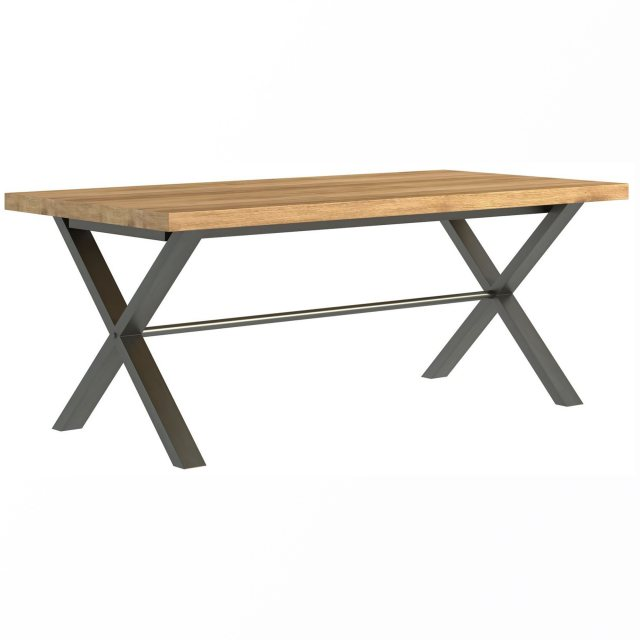 The Industrial Dining table has a solid rustic oak top finished in oil and metal crossed legs.
