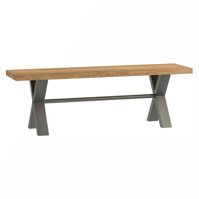 The Industrial Dining Range bench has crossed metal legs and a solid rustic oak top.