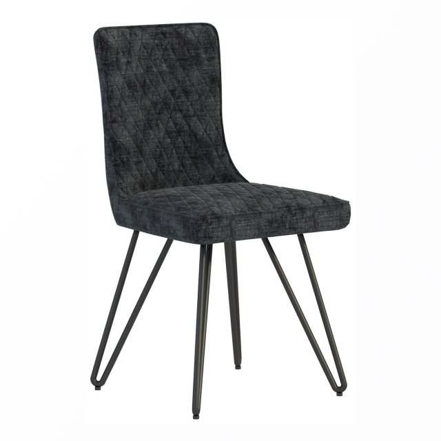 The dining chair has a stylish, contemporary look and its angled metal legs.