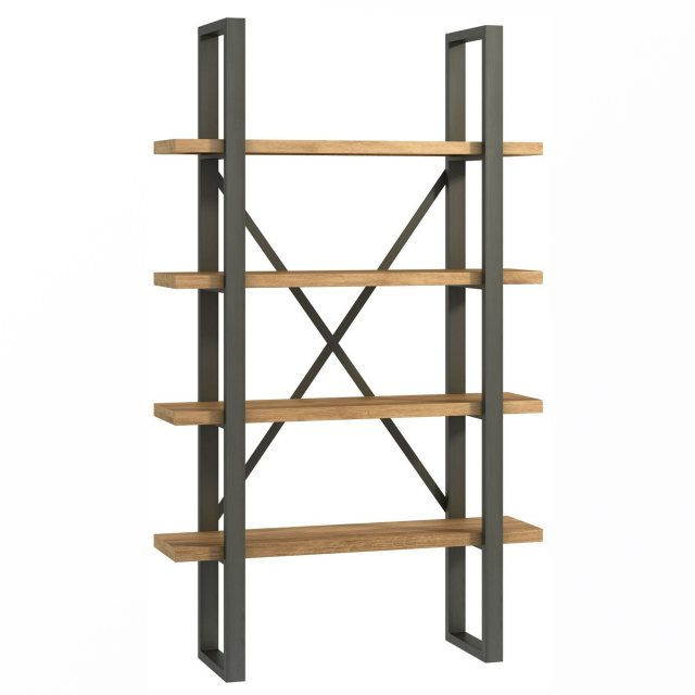 The shelf unit in the Industrial Dining Range has four solid rustic oak shelves and metal supports.