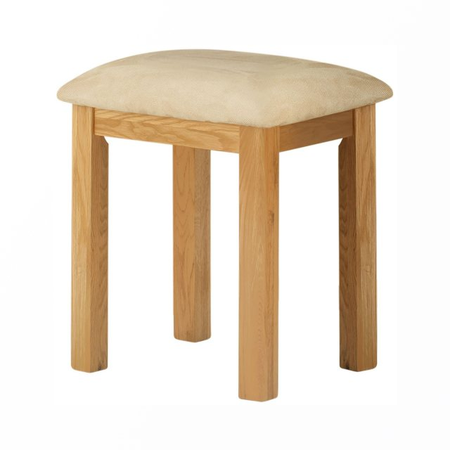 The upholstered oak stool would complement the oak dressing table - a stylish addition to a bedroom