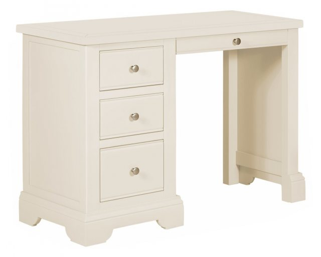 Elegant, clean lined simplicity of the 3 drawer white painted dressing table suits a range of decors