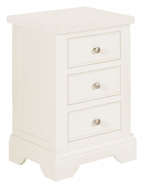 The white painted 3 drawer beside with elegant, clean lined simplicity suits a wide range of decors