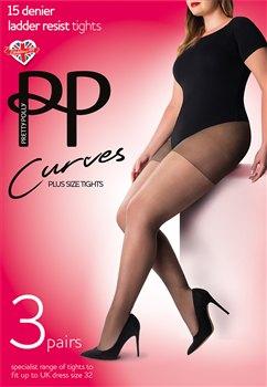 Pretty Polly Curves 15D Ladder Resist Sheet Tights 3 Pair Pack