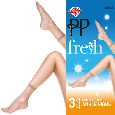 Pretty Polly Fresh Comfort Top 15D Ankle Highs 3 Pair Pack