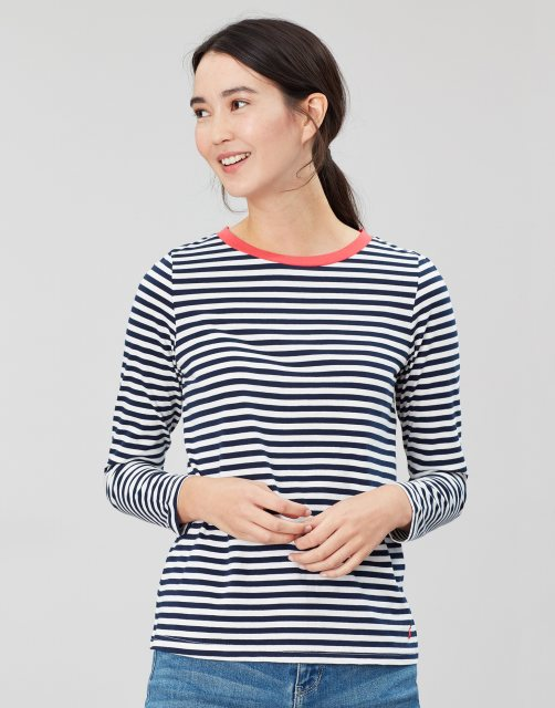 Joules 209571 Selma Long Sleeve Clean Crew With Pop Neck Trim