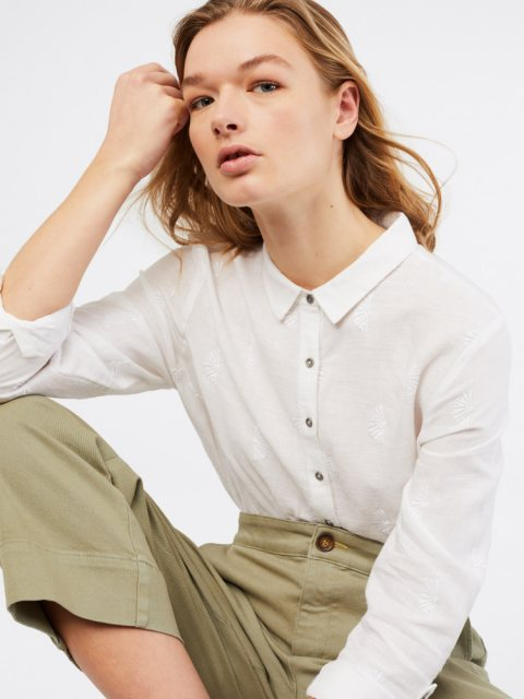White Stuff Amelie Embroidered Linen Shirt